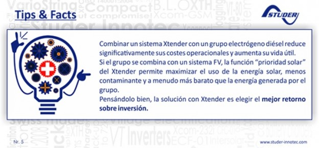 """Función """"prioridad solar"""" en los equipos Xtender de Studer"""