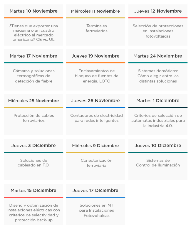 Calendario de los Seminarios online de Noviembre y Diciembre